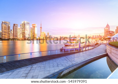 Shanghai skyline on the Huangpu River at sunset,China #545979391