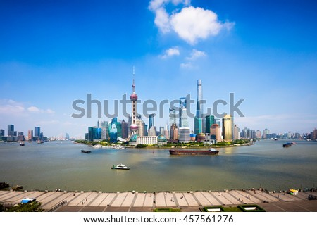 Shanghai skyline, Panoramic view of shanghai skyline and huangpu river, Shanghai China #457561276