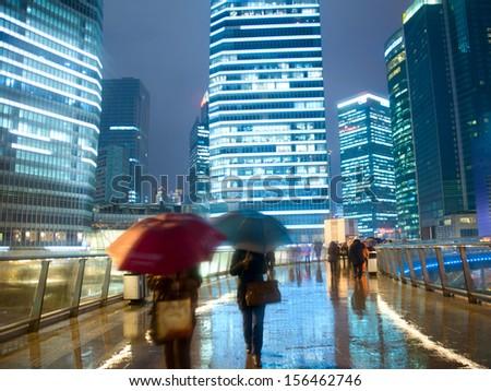 Shanghai street rain at night