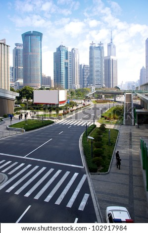 Shanghai Traffic building, very clean city scene. - stock photo