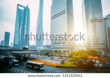 Shanghai-Urban Landmark Architecture and Road Traffic Transportation #1253320963