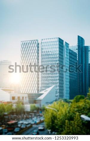 Shanghai-Urban Landmark Architecture and Road Traffic Transportation #1253320993