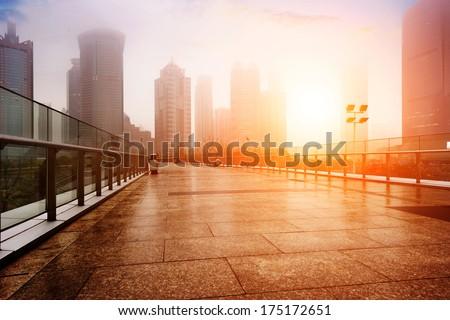 Shanghai urban landscape,in fog,pollution
