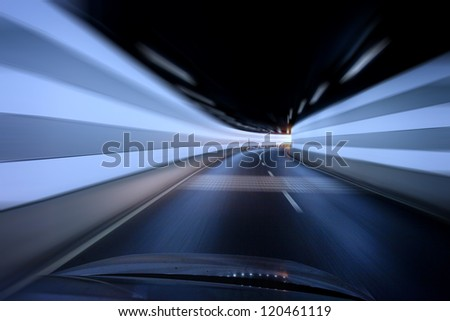 shanghai  Urban Tunnel, Car moving with Motion Blur