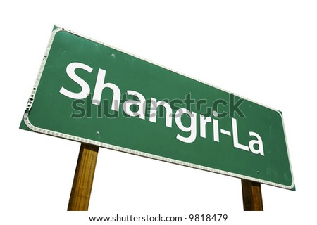 Shangri-La road sign isolated on a white background.