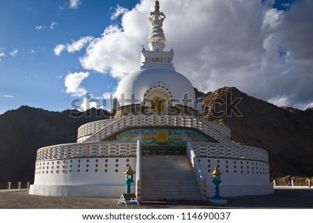 Shanti Stupa at sunset, Leh, Ladakh, India