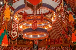 Shanyrak, the upper part of the yurt. Traditional national elements of nomadic decoration. Embroidery and patterns of ancient nomads