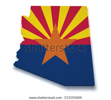 Shape 3d of Arizona map with flag isolated on white background.