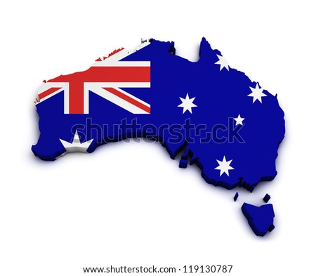Shape 3d of Australia map with flag isolated on white background.