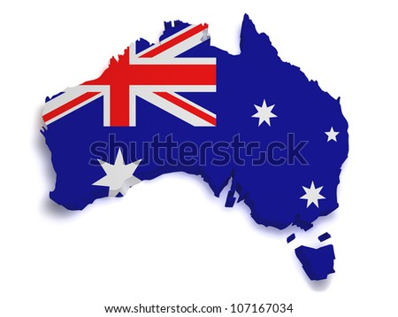Shape 3d of Australian flag and map isolated on white background.