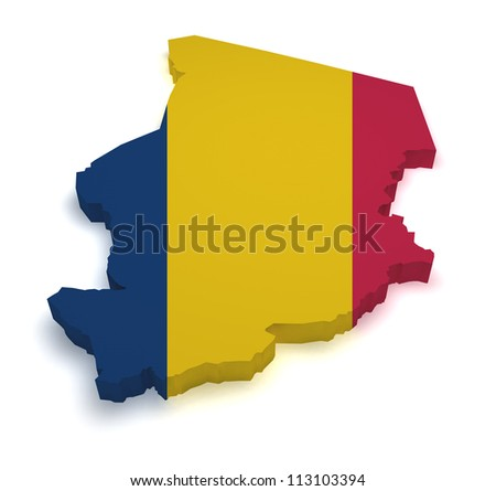 Shape 3d of Chad map with flag isolated on white background.