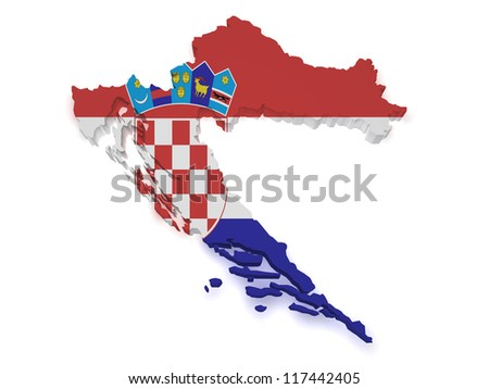 Shape 3d of Croatia map with flag isolated on white background.