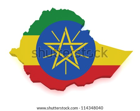 Shape 3d of Ethiopia map with flag isolated on white background.