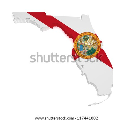Shape 3d of Florida map with flag isolated on white background.