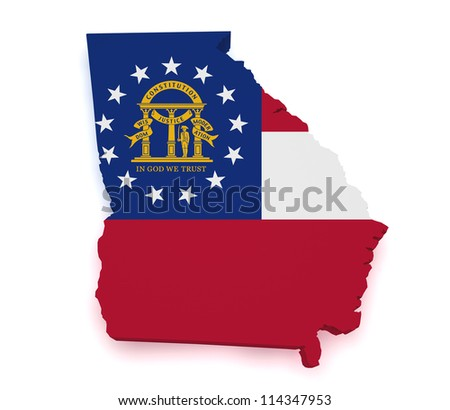 Shape 3d of Georgia map with flag isolated on white background.