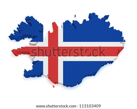 Shape 3d of Iceland map with flag isolated on white background.