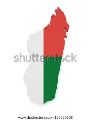 Shape 3d of Madagascar map with flag isolated on white background.