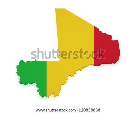 Shape 3d of Mali map with flag isolated on white background.