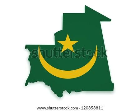 Shape 3d of Mauritania map with flag isolated on white background.