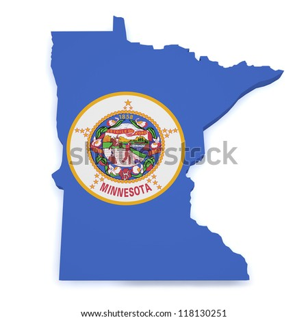 Shape 3d of Minnesota map with flag isolated on white background.