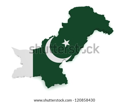 Shape 3d of Pakistan map with flag isolated on white background.