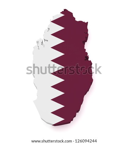 Shape 3d of Qatar map with flag isolated on white background.