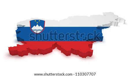 Shape 3d of Slovenia map with flag isolated on white background.
