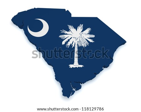 Shape 3d of South Carolina map with flag isolated on white background.
