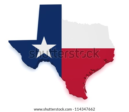 Shape 3d of Texas map with flag isolated on white background.