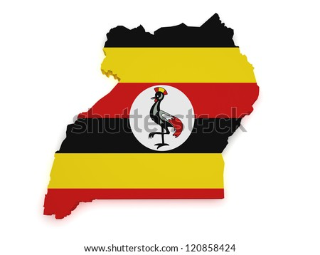Shape 3d of Uganda map with flag isolated on white background.