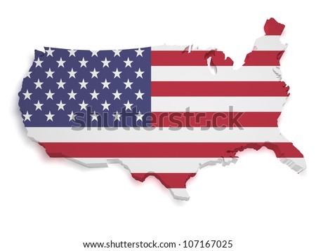 Shape 3d of United States of America flag and map isolated on white background.