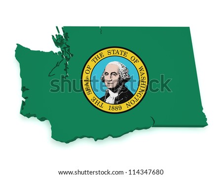 Shape 3d of Washington map with flag isolated on white background.