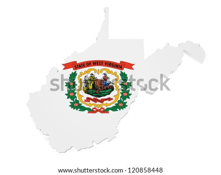 Shape 3d of West Virginia map with flag isolated on white background.