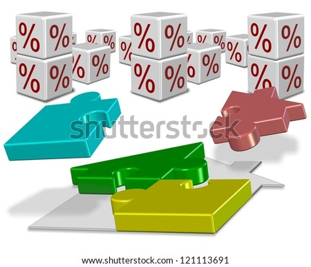 Shape of a house made from jigsaw puzzle pieces and percentage symbols / Interest rates and house mortgage