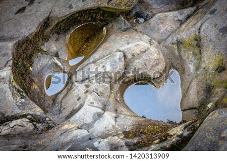 Shape of face naturally curved in rock by flowing water.Nature abstract.Unique landscape feature.Small pools in stone.Natural texture background.