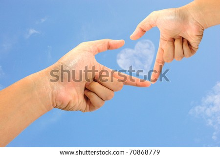 shape of love sign made by hands