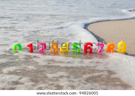 Shape of the candles to decorate a birthday cake in the sand.