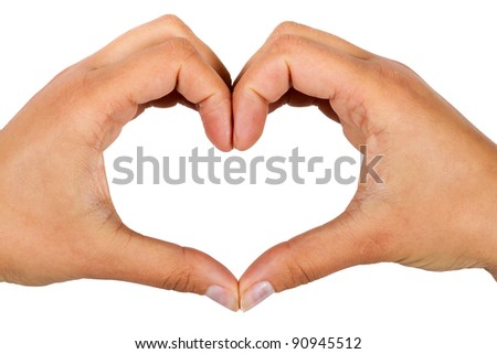 Shape of the heart made by female hands isolated on white