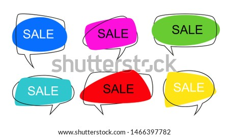 Shape speech bubble. Talk pop art bubbles colorful shapes of balloon for abstract sale price sticker, retro shaping frames illustration