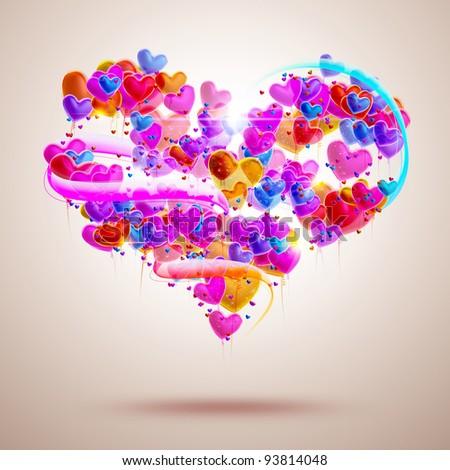 Shaped balloons - hearts