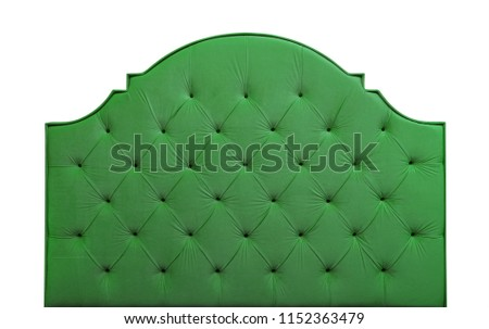 Shaped freen soft velvet fabric capitone bed headboard of Chesterfiels style sofa isolated on white background, front view #1152363479