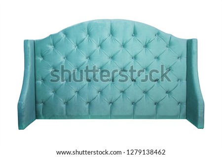 Shaped pastel teal blue color soft velvet fabric capitone bed headboard of Chesterfiels style sofa isolated on white background, front view #1279138462