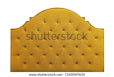 Shaped vivid yellow soft velvet fabric capitone bed headboard of Chesterfiels style sofa isolated on white background, front view #1160069626