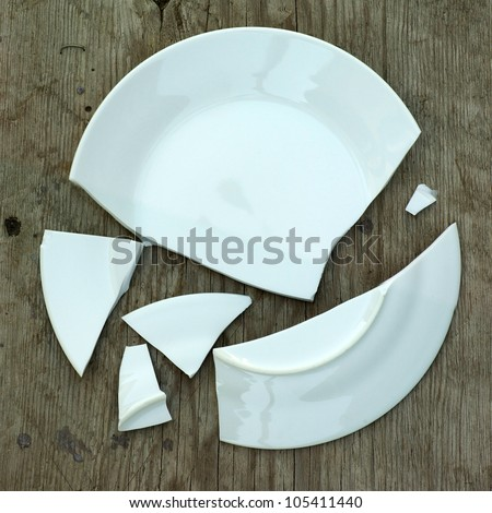 shards of a broken plate on a wooden surface