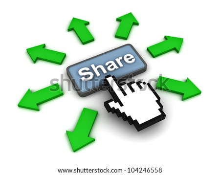 Share button with green arrows on white background