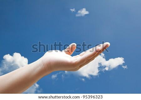 share hand on sky