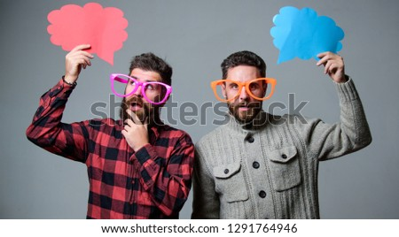 Share opinion speech bubble copy space. Comic and humor sense. Men with beard and mustache mature hipster wear funny eyeglasses. Explain humor concept. Funny story and humor. Comic idea. Men joking.