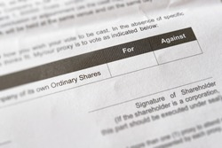 Shareholders proxy form for equity holders of a corporation who are unable to attend shareholders' meeting to vote in favor or against proposed resolutions in which the company intends to implement.
