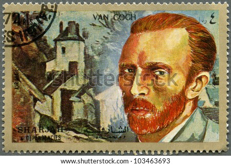 SHARJAH & DEPENDENCIES - CIRCA 1972: A stamp printed in Shiarjah & Dependencies shows Vincent Willem van Gogh (1853-1890), circa 1972