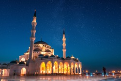 Sharjah Grand Mosque Night View,Sharjah Travel Tourism Image,Best Places to visit in Dubai, Amazing architecture Design, Islamic concept Ramadan and Eid Background 2020, Beautiful Mosque in the world